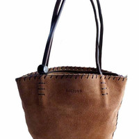 Biglidue Designer Soft Suede Leather Boho Bag Slouchy Stitched Bucket Handbag Venezuela Vintage 1990s Rolled Leather Handle w/ Sparkle Bead