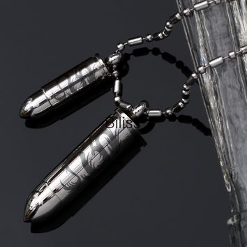 SHIPS FROM USA Fashion Jewelry High Polished Silver Tone Matching Bullet Pendant Necklace in Stainless Steel for Men Women 1 piece