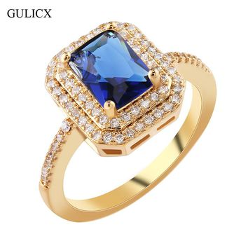 GULICX 2017 New Fashion Double Halo Finger Ring Gold-color  Ring Princess Cut Crystal CZ Zircon Party Jewelry For Women R306
