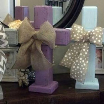 Rustic standing wood cross centerpiece, custom made for you. Christmas gift and decor. Gold bow for decoration.