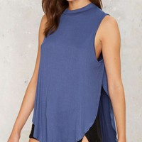 Slit or Miss Cutout Top - Blue