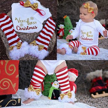 3Pcs Christmas Newborn Baby Girls Bodysuit Onesuit Clothing Set Infant Girls Letter Bodysuits+Leg Warmer+Headband Outfit Clothes