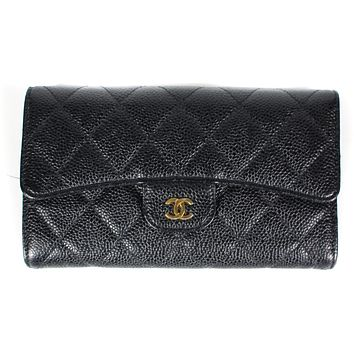 Chanel WALLET  Coin Purse Black Caviar Leather GOLD CC QUILTED FLAP COIN PURSE BAG