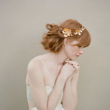 Bridal rose hairclip, headpiece, gold - Golden Rose and blossom branch headpiece - Style 355