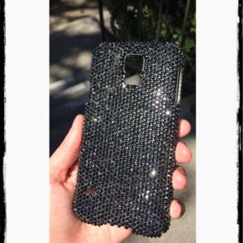 Samsung Galaxy S5 Case Made With Swarovski Elements Crystals in Jet Hematite