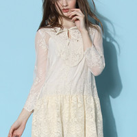 Lace Fall in Love Sheer Mesh Dress White S/M