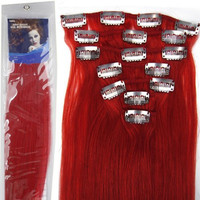 20''7pcs Fashional Clips in Remy Human Hair Extensions 24 Colors for Women Beauty Hot Sale (#RED)