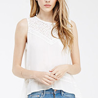 Lace-Paneled Split Back Top
