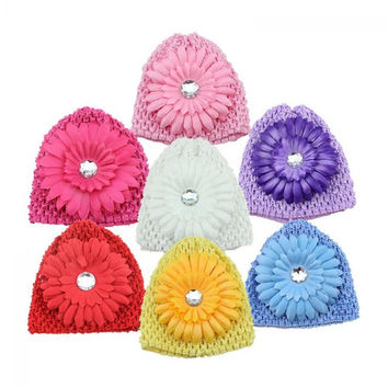 1 PC Newborn Baby Girls Cute Kid Toddler Infant Winter Warm Big Flower Crystal Crochet Knitted Hat Cap Beanie Headwear for 3-12M