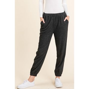 Knit Striped Jogger Pants - Black