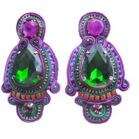 BEETLEJUICE soutache earrings in emerald green and purple