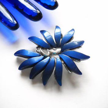 Vintage Brooch Claudette Blue Cobalt Thermoset Lucite Brooch Silver Tone Metal Blue Silver Plant Mid Century 1950s Statement Brooch