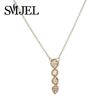 SMJEL Copper Chemical Formula Jewelry DNA Molecule Necklace Men Biology Necklaces for Women N209