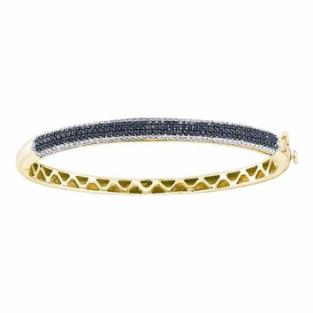 14kt Yellow Gold Women's Round Black Color Enhanced Diamond Bangle Bracelet 1-1-2 Cttw - FREE Shipping (US/CAN)