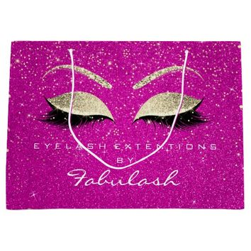 Eyes Lashes Blush Makeup Confetti Hot Pink Gold Large Gift Bag