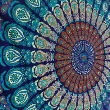 Blue Color Theme Queen Size Mandala Wall Tapestries, Psychedelic Indian Tapestry Bedding, Bohemian Wall Hanging, Floral Print Bed Cover,