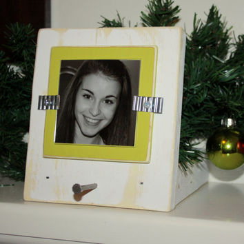 """Christmas Stocking Holder with Picture Frame - Distressed Wood - Holds a 3""""x3"""" Photo - White & Citron Green"""