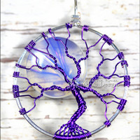 Purple Opalite Rainbow Moonstone Full Moon Tree of Life Pendant Radiant Orchid Wire Wrapped Jewelry Fantasy Sci Fi