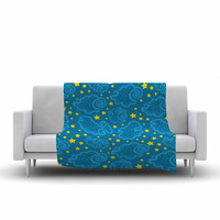 "Yenty Jap ""Starry And Cloudy Night"" Blue Yellow Fleece Throw Blanket"