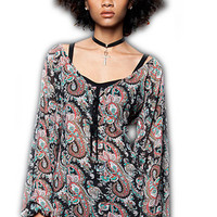 Paisley Chiffon Blouse With Lace Up Front