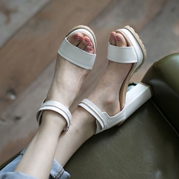 Design Stylish Summer Korean White Thick Crust High Heel Shoes Sandals [4920565444]