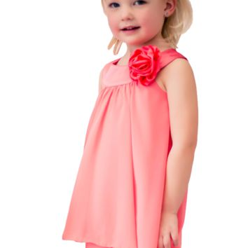 Coral Chiffon Shift Dress with 2 Tier Hem & Satin Neckline (Girls 2T - Size 14)