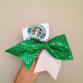 Starbucks Cheer Bow Green Sparkle Sequin white