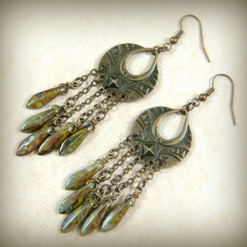 Earrings - Brass Dangle Earrings, Brass Chandelier Earrings, Sage Green Dagger Dangles - Extra Long Dangle Earrings