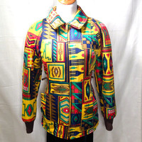SALE !!! 1960's unusual tribal print quilted jacket Size M
