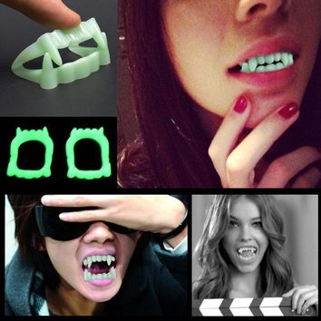 New Toy Vampire Fake Teeth For Halloween Party Glow In The Dark Prop Masquerade Cosplay Makeup Funny Luminous Dentures