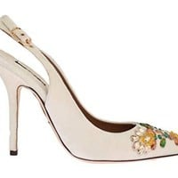 Dolce & Gabbana - White Velvet Crystal Slingback Shoes