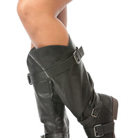 Black Faux Leather Knee High Buckle Up Boots