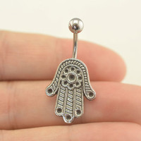 bellybutton jewelry hamsa hand belly button ring hamsa hand belly button piercing, belly ring