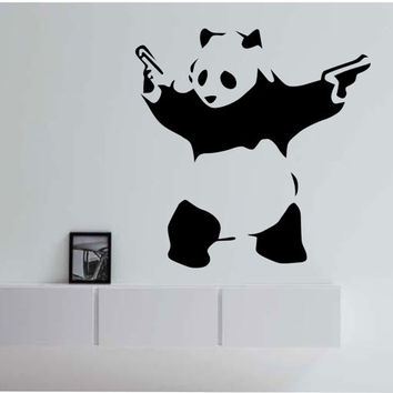 Panda with guns Japan Asian Japanese Animal Vinyl Wall Decal Sticker Art Decor Bedroom Design Mural nature