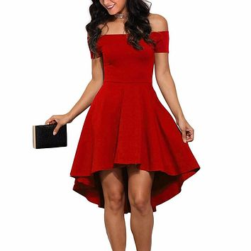 New Spring Summer Women Slash Neck Off Shoulder Party Cocktail Sexy Dress High Low Swing Skater Dresses Vestidos de fiesta