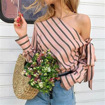 bd29ff1e8f Women Striped Shirts Tops Fashion One Shoulder Lacing Up Bandage