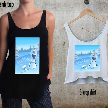 Hello olaf Starbucks For Woman Tank Top , Man Tank Top / Crop Shirt, Sexy Shirt,Cropped Shirt,Crop Tshirt Women,Crop Shirt Women S, M, L, XL, 2XL**