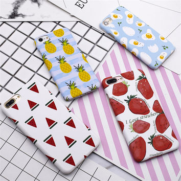 Cute Watermelon Strawberry Pineapple Fruit Eggs Slim Fundas Capa Phone Cases Back Cover For iPhone 7 7Plus 6G 6S 6Plus 5 SE 5s