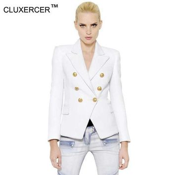 ICIKHY9 New 2016 White Blazer Women Slim Blaser Double Breasted Design Plus Size Blazer Feminino Female Suit Jacket Women Work Wear