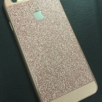 "Iphone6 6S case,Beauty Luxury Hybrid Glitter Bling Rose gold PC Hard Elegant matte Texture Sparkling Glisten Gleam Cover Case for iphone 6 6S 4.7"" (rose gold)"