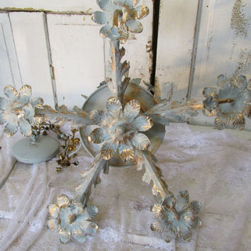 French blue and gold hanging chandelier Laurel leaves floral distressed lighting fixture ornate vintage flower buds chain anita spero design