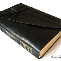 Large Black Leather Journal, Sketchbook. A5 size. MEDITATIO.