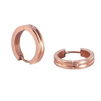 Stainless Steel Rose Gold Rounded Small Hoops Earrings for Womens Sensitive Ears