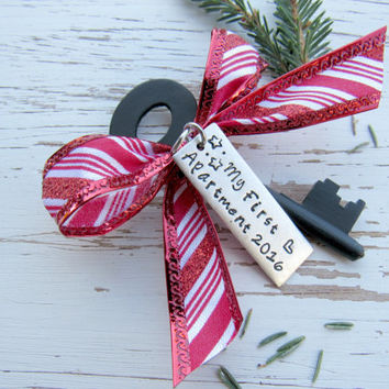 My First Apartment 2016 skeleton key ornament - housewarming gift - hand stamped - stars - heart - peppermint candy cane  - rustic holiday