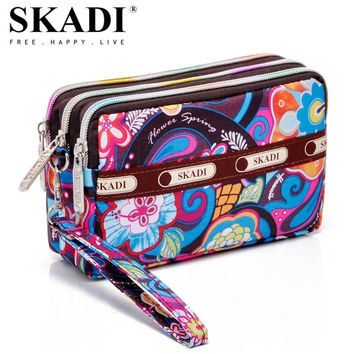 SKADI Women Purse Short Design Brand Wallet Coin Clutch Bags Phone Bag Zippers Russia Lady Gift Cute Dots Floral Flower Sac S001