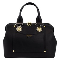 VERSUS VERSACE Black Leather Lion Head Satchel Hand Bag