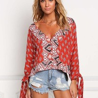 Rust Multi Print Button Down Blouse
