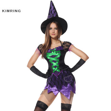 Sexy Crafty Witch Halloween Costume Cosplay Magic Moment Halter Costume Body Shaper Adult Costume Dress for Women