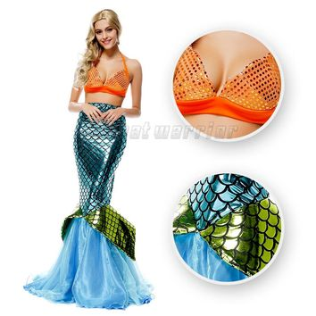 Little Mermaid tail princess Ariel  cosplay costume Mermaid fancy blue sexy dress  with Bra for adults party show