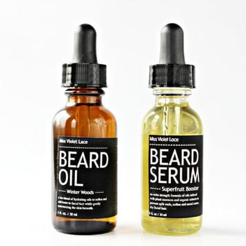 BEARD CARE SET. beard oil + beard serum. 100% natural vegan men's grooming set.